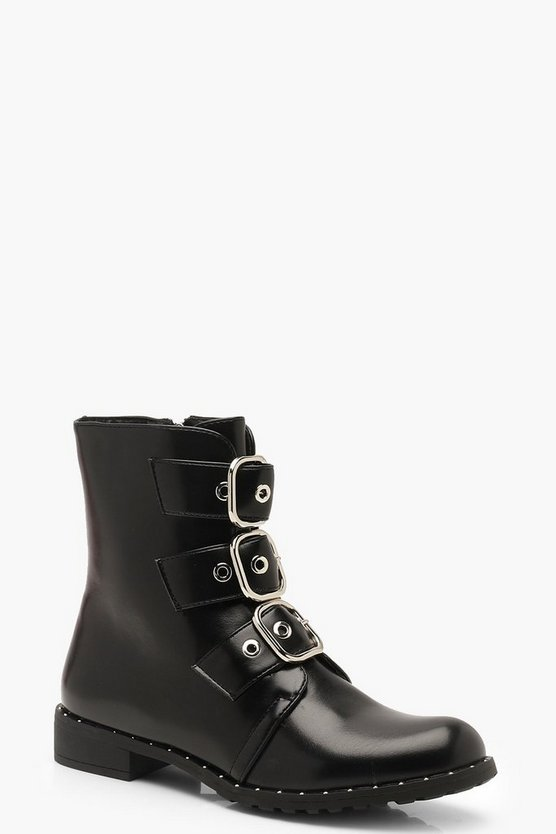 Womens Black Three Buckle Biker Boots