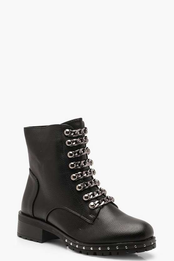 Womens Black Chain Chunky Hiker Boots