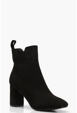 Womens Black Block Heel Pull On Chelsea Boots
