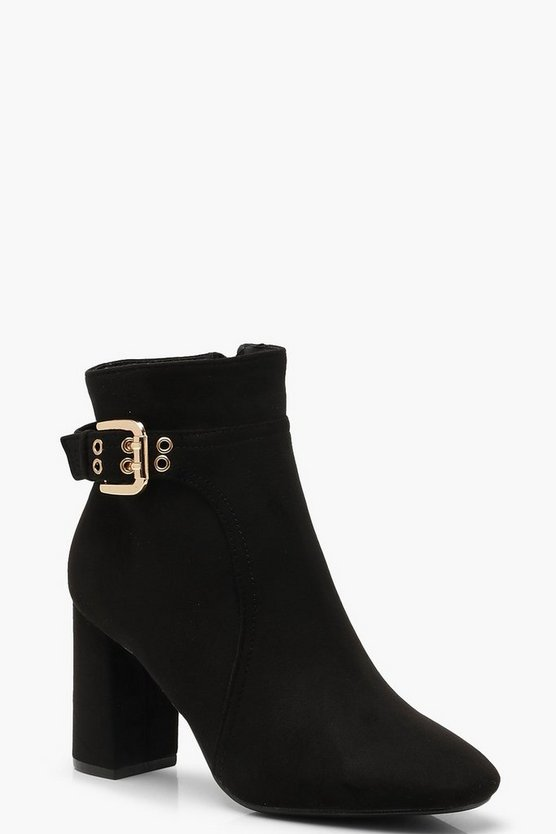 Block Heel Shoe Boots With Buckle