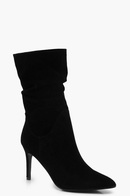 Slouched Stiletto Heeled Calf Boots