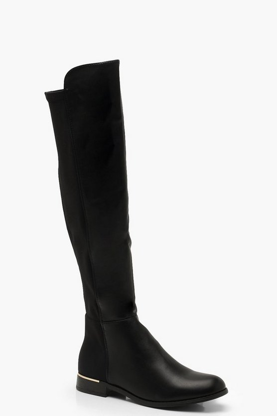 Womens Black Metal Trim Over The Knee Boots