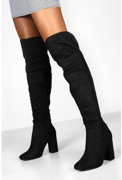Dam Black Block Heel Over The Knee Boots