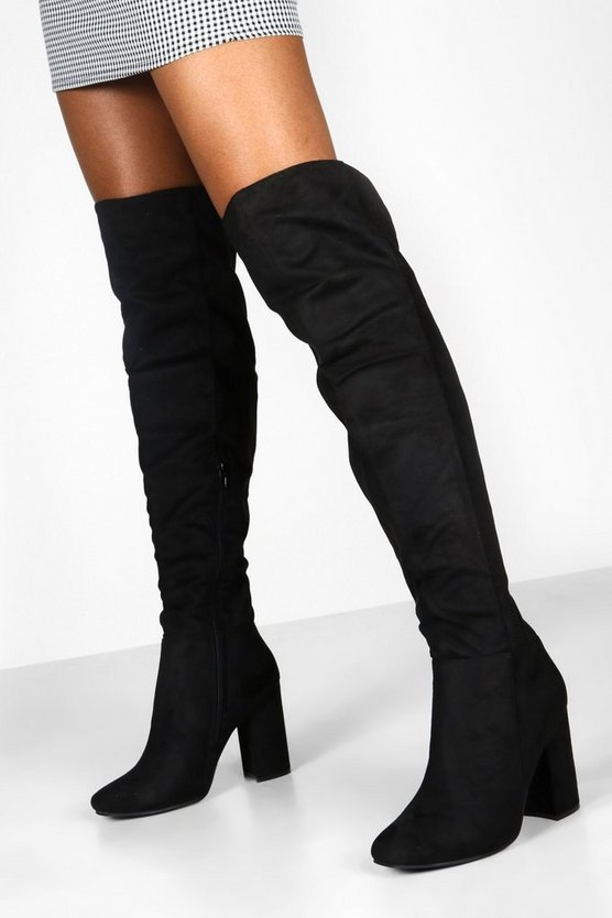 Womens Black Block Heel Over The Knee Boots
