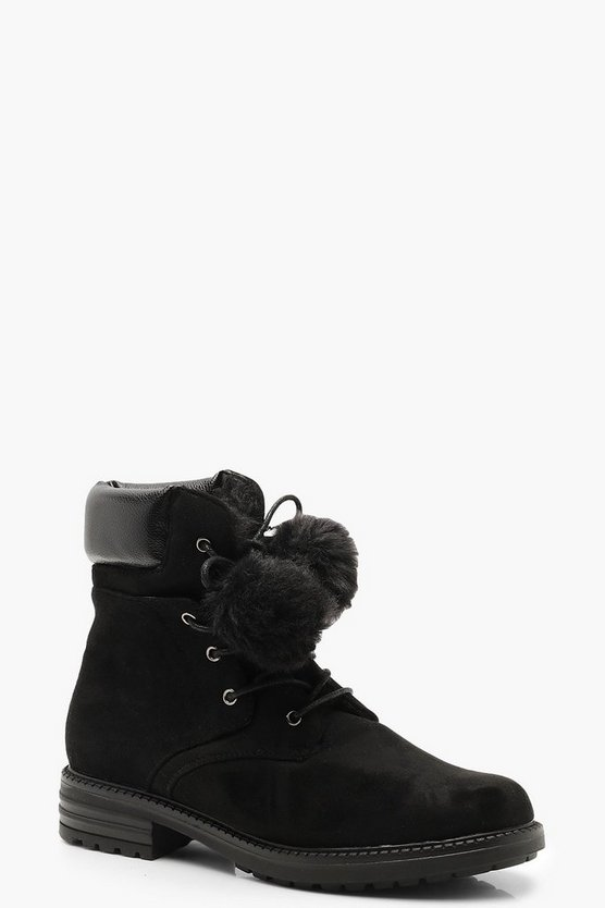 Womens Black Faux Fur Pom Pom Hiker Boots