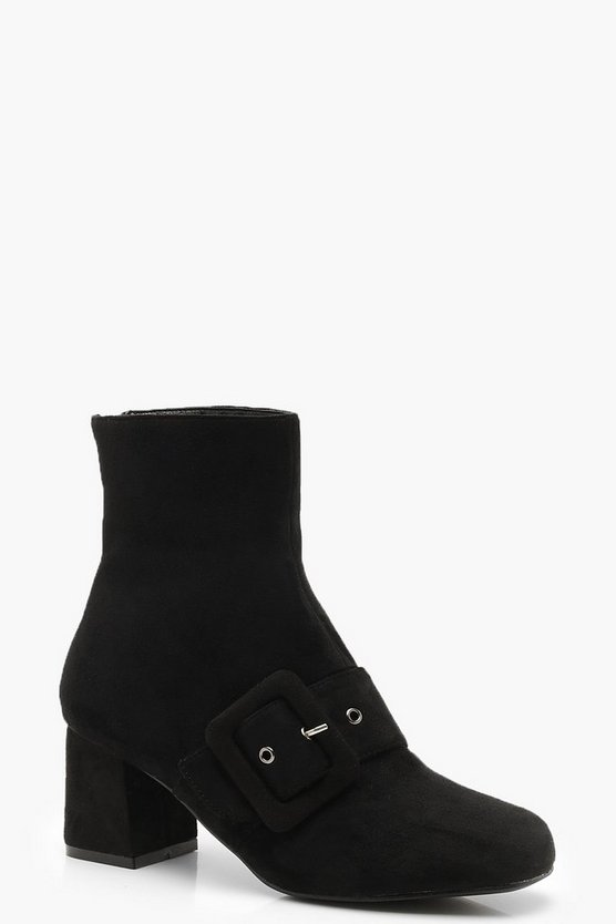 Womens Black Buckle Trim Block Heel Shoe Boots