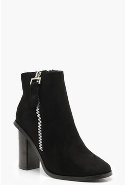 Womens Black Zip Side Block Heel Boots