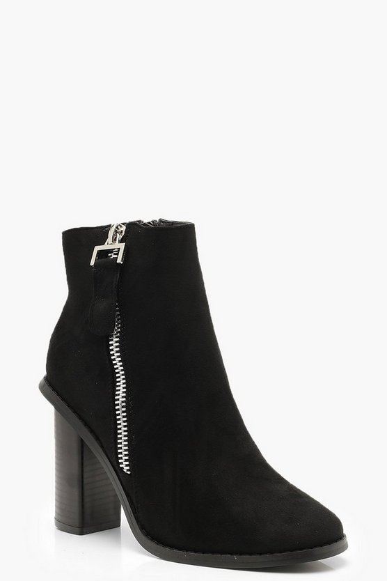 Zip Side Block Heel Boots