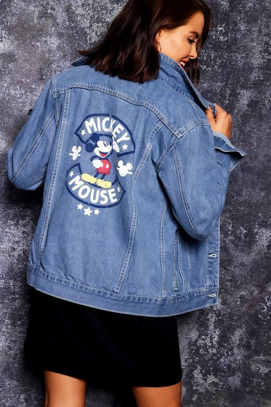 Disney Mickey Distressed Graphic Denim Jacket