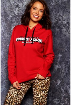 Womens Red Disney Mickey 90th Anniversary Hoodie
