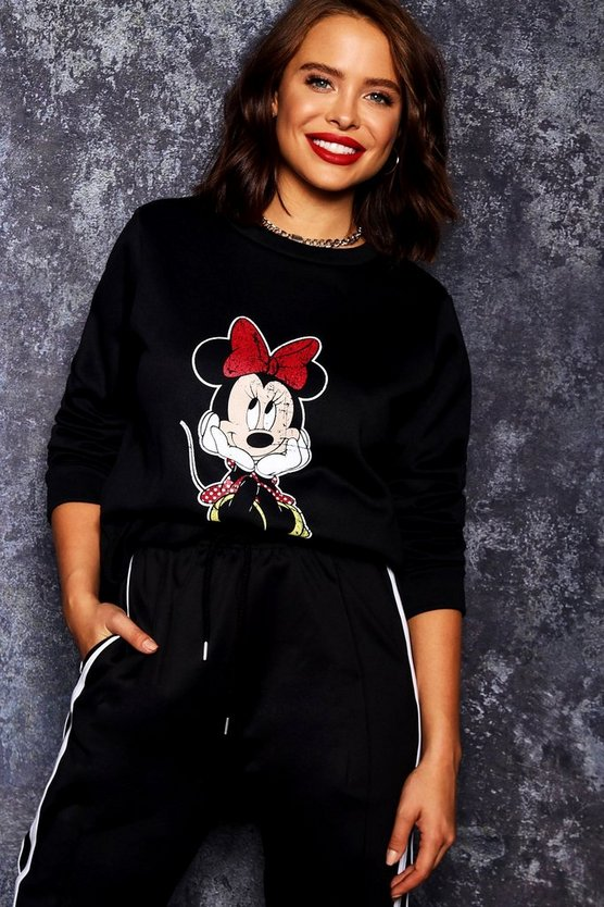 Womens Black Disney Minnie Distressed Sweat