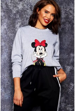 Womens Grey Disney Minnie Distressed Sweat