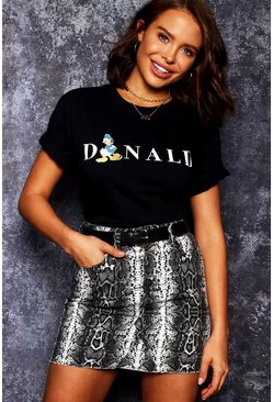 Womens Black Disney Donald Initial T-Shirt