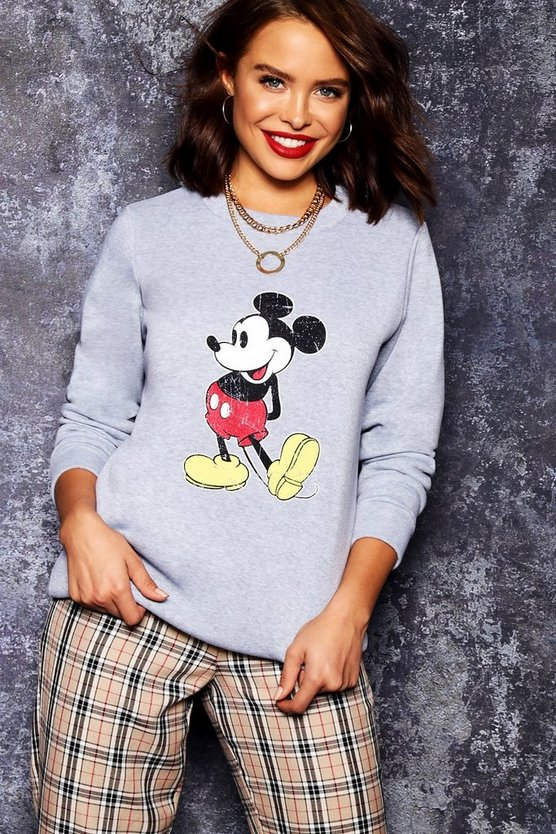 Womens Grey Disney Mickey Distressed Sweat