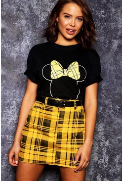 Womens Black Disney Minnie Tartan Bow T-Shirt