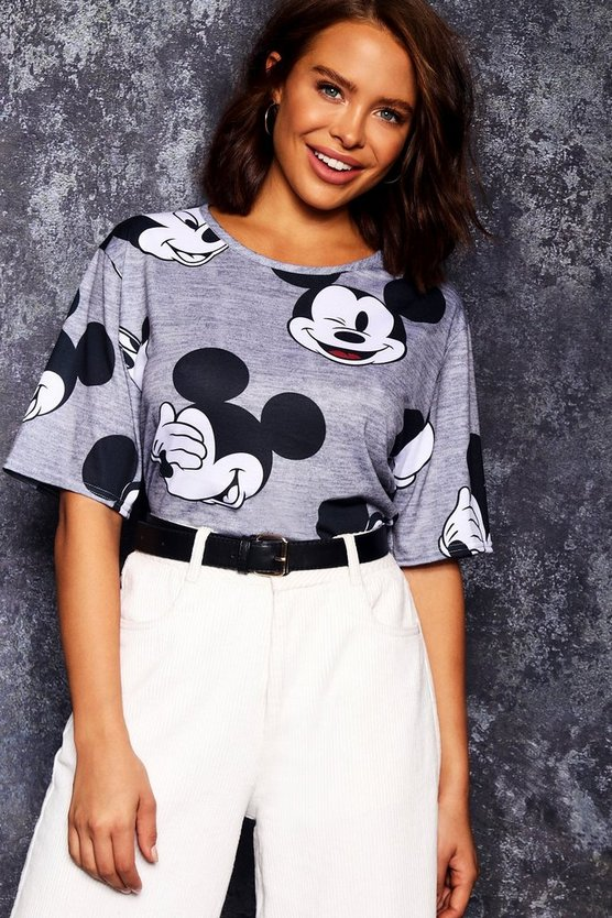 Womens Grey Disney Mickey Repeat Print Tee