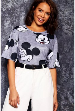 Womens Grey Disney Mickey Repeat Print T-Shirt