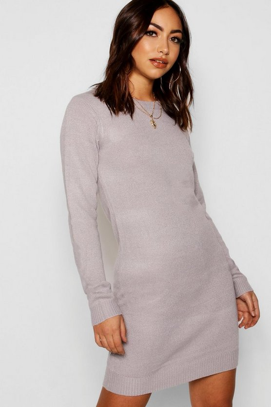 Womens Grey Crew Neck Long Sleeve Dress