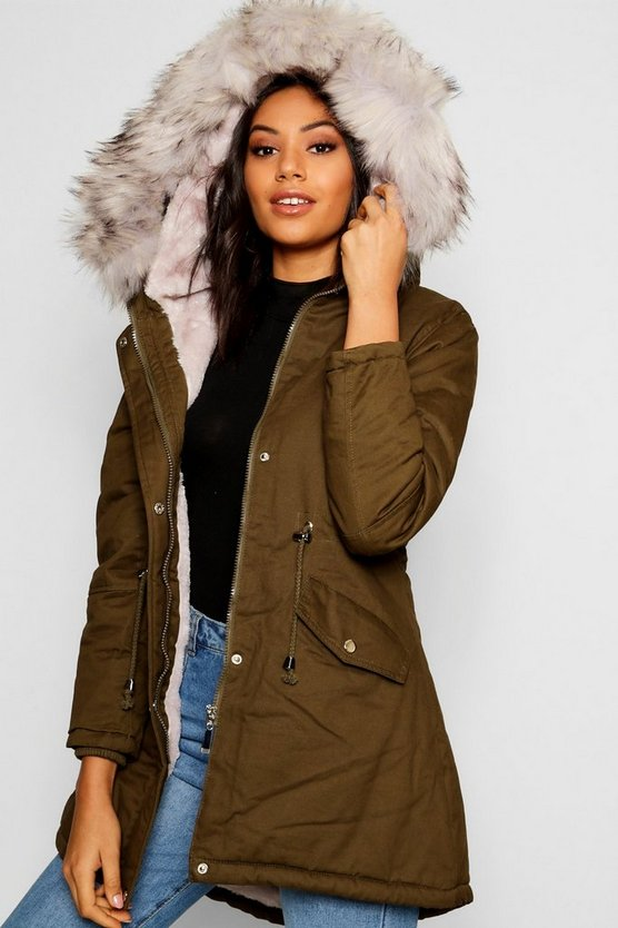 Womens Khaki Faux Fur Lined Parka