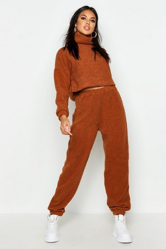 Womens Brown Borg Jogger