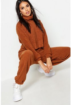 Womens Brown Funnel Neck Sweat