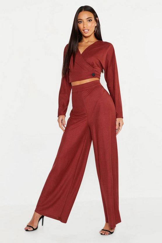 Womens Rust Wrap Front Button Detail Top + Wide Leg Trouser