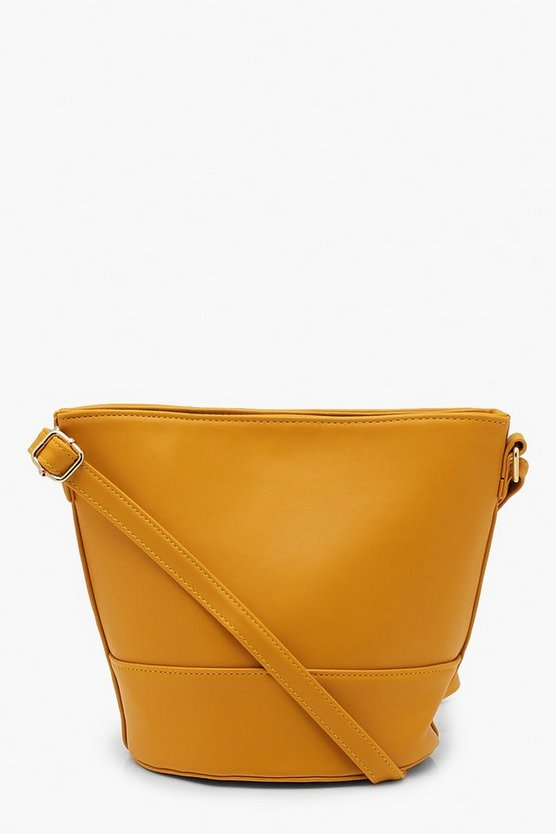 Womens Mustard Bucket Cross Body Bag