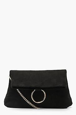 Ring Detail Suedette Cross Body Bag