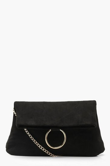 Womens Black Ring Detail Suedette Cross Body Bag