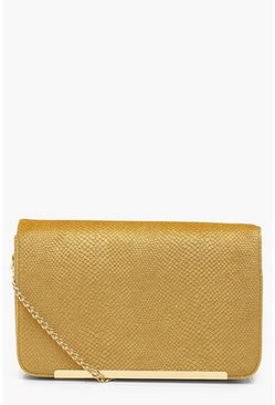 Womens Mustard Velvet Snake Cross Body Bag