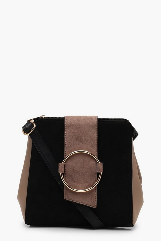 Womens Black Colour Block Ring Detail Cross Body Bag