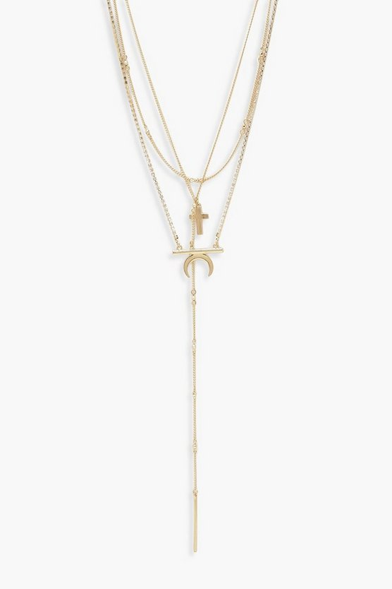 Diamante & Horn Layered Necklace