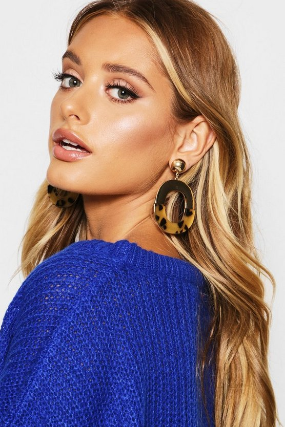 Gold Contrast Tortoise Shell Earrings