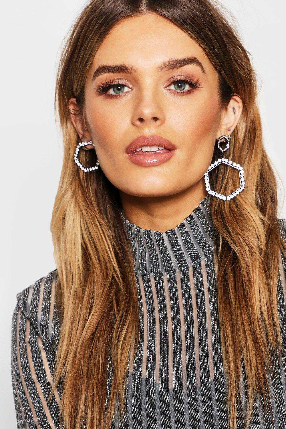 Mixed Shape Diamante Statement Earrings
