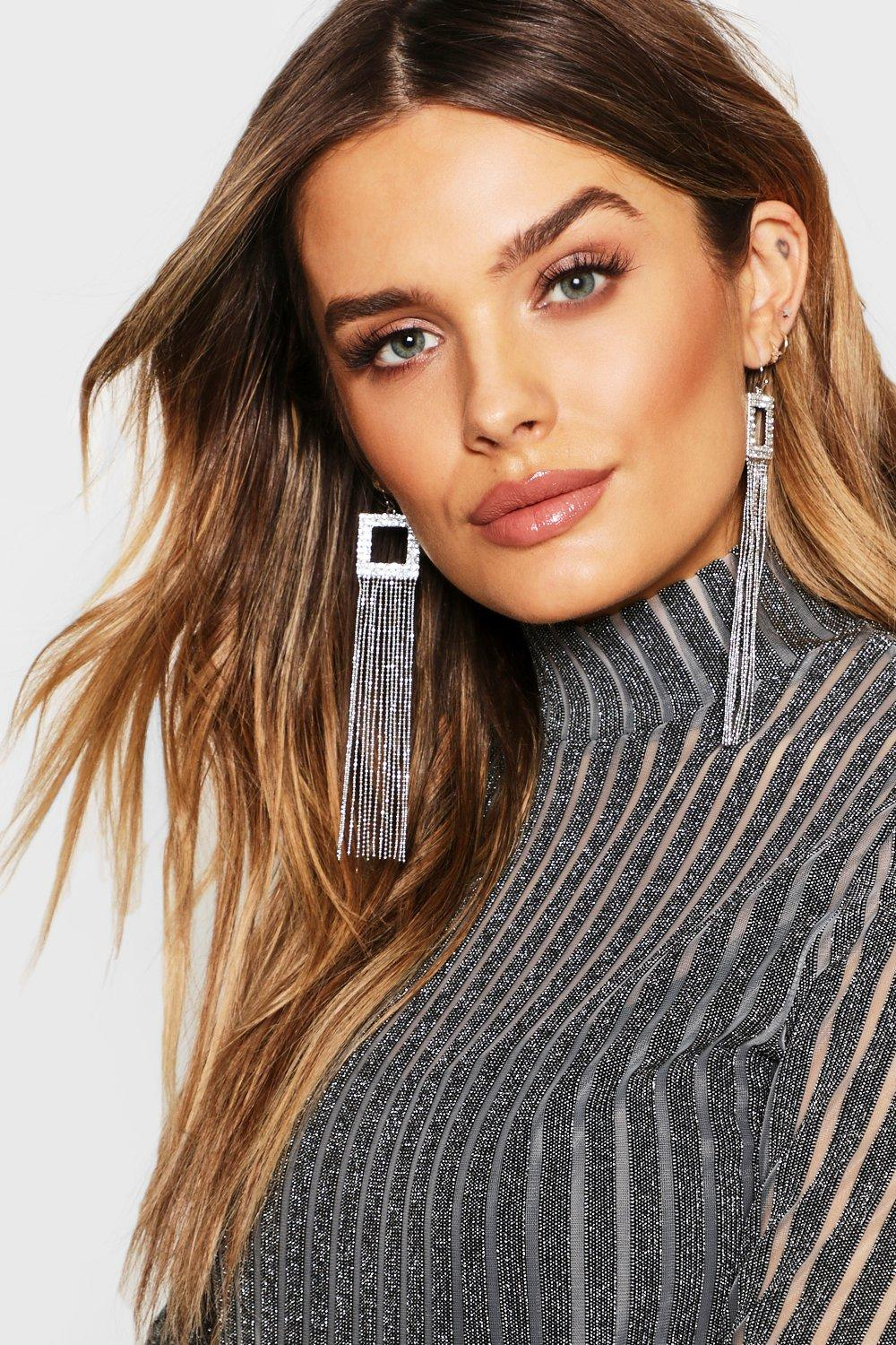 Diamante Square & Chain Statement Earrings