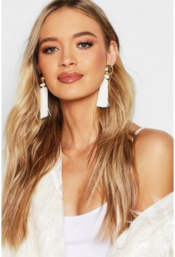 Womens White Gold Stud Contrast Tassel Earrings