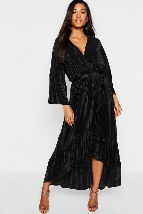 Plisse Wrap Front Ruffle Hem Maxi Dress