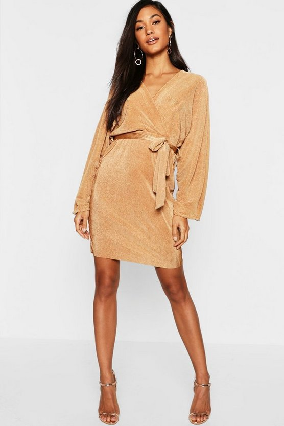 Womens Caramel Plisse Rouched Sleeve Midi Dress