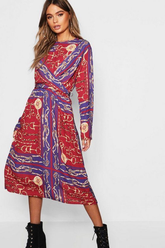 Womens Berry Knot Front Chain Print Midi Dress