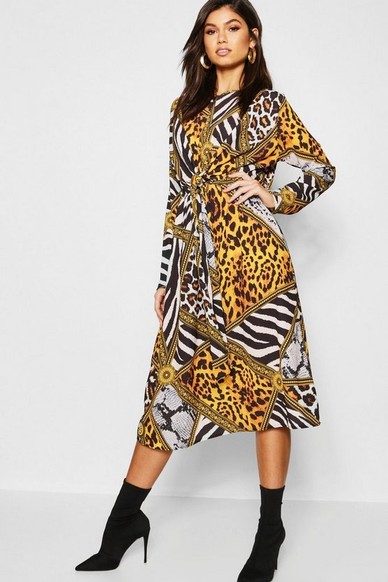 Knot Front Leopard Chain Midi Dress