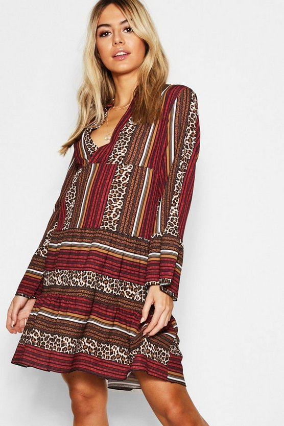 Womens Berry Leopard Stripe Smock Dress