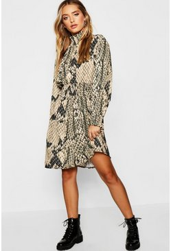 Womens Taupe Shirred Snake Print High Neck Skater Dress