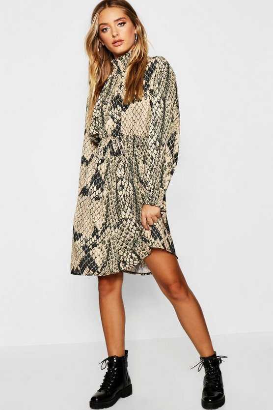 Shirred Snake Print High Neck Skater Dress