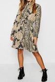... Shirred Snake Print High Neck Skater Dress alternative image e53dd272a