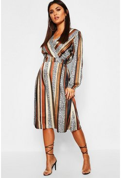 Leopard Stripe Button Front Midi Dress, Multi