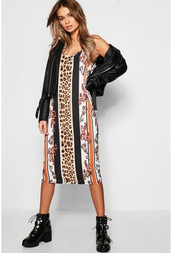 Leopard Stripe Midi Cami Dress, Black