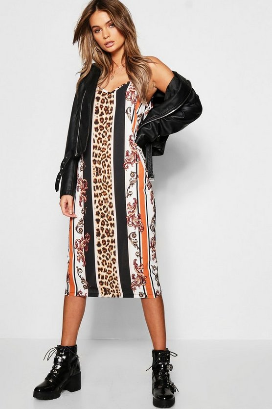 Leopard Stripe Midi Cami Dress