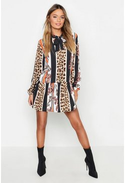 Womens Black Leopard Stripe Pussy Bow Smock Dress