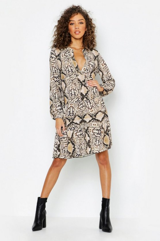 Snake Ruffle Hem Smock Dress