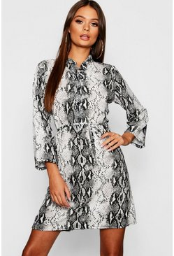 Grey Snake Print Tie Waist Shirt Dress